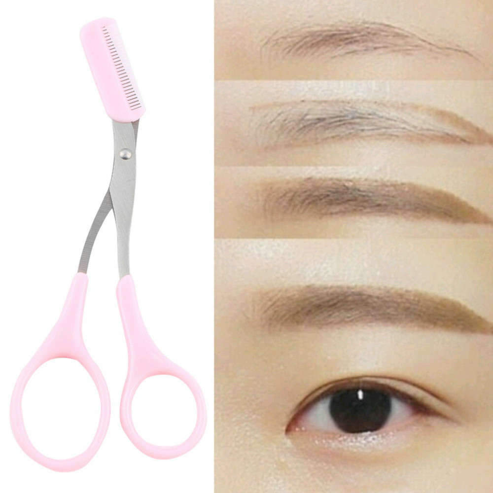 Scissors Girl Lady Pink Eyebrow Trimmer Eyelash Thinning Shaving Comb Eyelash Hair Clips Scissors Shaper Eyebrow Grooming Cosmetic Tool Comfortable And Easy To Wear Hand Tools