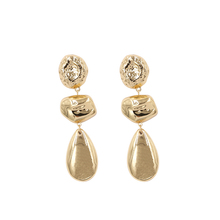 Gold /Silver Color Drop Earrings For Women Vintage Hammered Long Earring Statement Big Earing Bohemia Jewelry