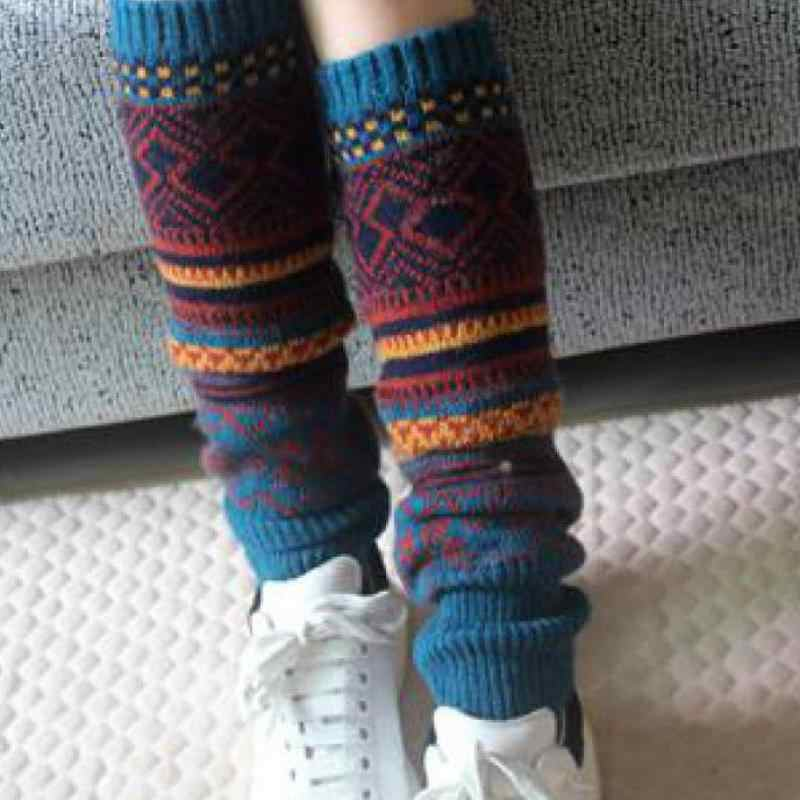 Boho Winter Warm Leg Warmers Cable Knit Knitted Crochet High Long Socks Leggings
