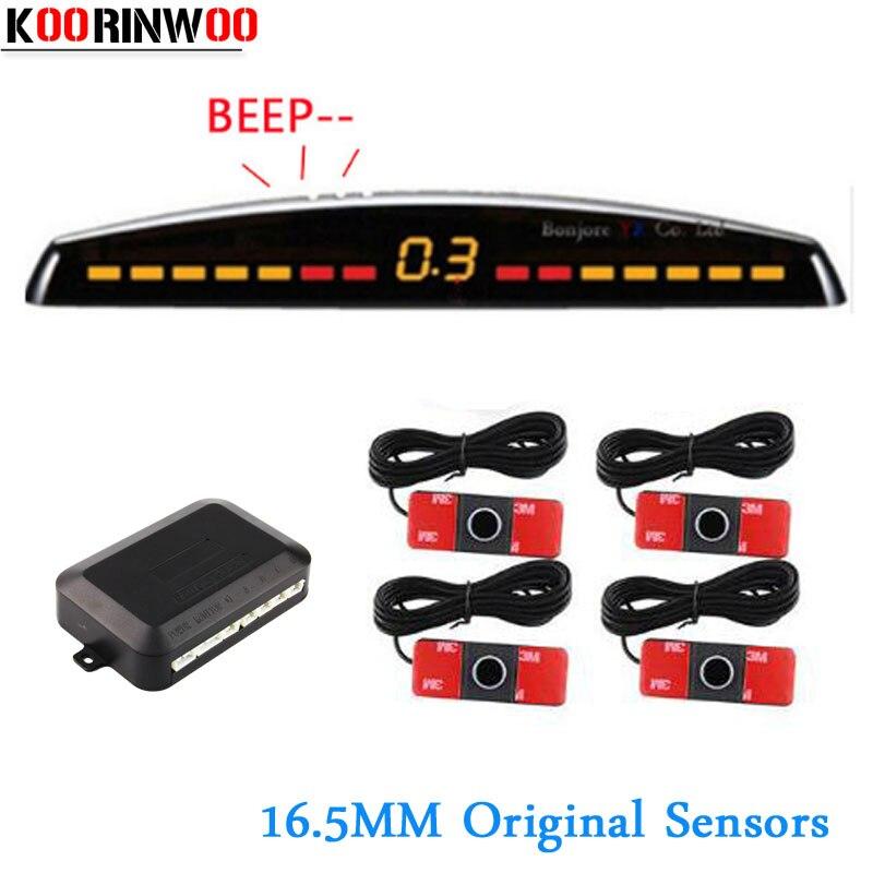 Parktronic Carro Koorinwoo Original CPU Duplo Carro Sistema de Sensor de Estacionamento 4 Sondas Sondas Sysem cego Carro Detector Reversa Para Carro