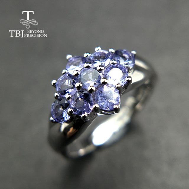 TBJ,Romantic small ring with natural Good color blue Tanzanite gemstone girl Rin