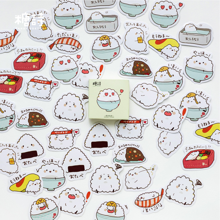 Bowl Rice Sushi Label Stickers Set Decorative Stationery Stickers Scrapbooking DIY Diary Album Stick Lable