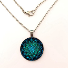 glass Pendant Necklace Indian Mandala Flower Glass Pendant Necklace Tattoo Flower Chain Necklace Pendant Jewelry gift milky blue earring and pendant necklace flower shape pendant necklace jewerly set for women gift