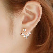 New Crystal Flower Earrings For Women Fashion Ear Jacket Piercing Earing Alloy High Quality Fashion aretes de mujer #35(China)