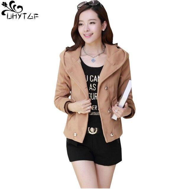 c2ea110bfca UHYTGF Plus size Women spring short Woolen Coat 2018 Korean style Fashion  Hooded Tops girl Coats Elegant Casual women jacket 377