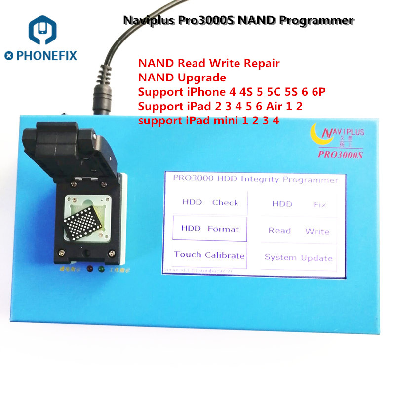 PHONEFIX NAVIPLUS Pro3000S NAND Programmer PRO3000S IP Box NAND Error Repair 32bit 64BIT HDD Read Write