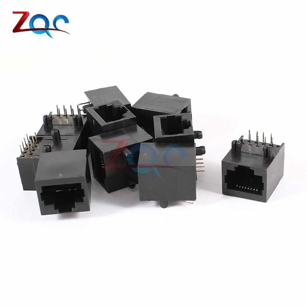 10 pces por lote rj45 metal 8 pinos fêmea pcb placa de ângulo direito conector jack 8p8c cristal cabeça soquete 18mm interface rede