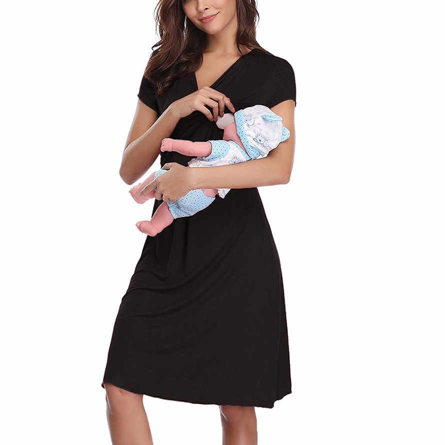 vetement femme Maternity clothe pregnancy dress Short Sleeve Nursing Baby Breastfeeding Nightdress Pregnancy Dress ropa de mujer