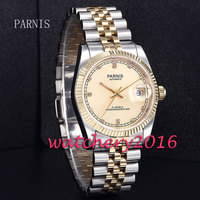 40mm Bliger Gold Dial Golden Plated Mens Miyota Sapphire Glass Automatic Watch 2