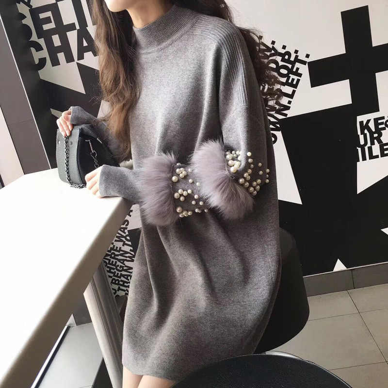 Chic Women Turtleneck Beading Pullover Pearls Loose Knitted Dress Striped Faux Rabbit Fur Long-sleeved Sweater 2018 OL Tops