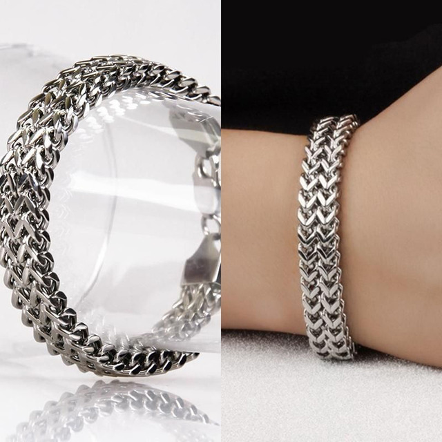 Luxury Brand Stainless Steel Bracelet Men Women Jewelry Gift Trendy Chunky Silver Chain Vintage Link