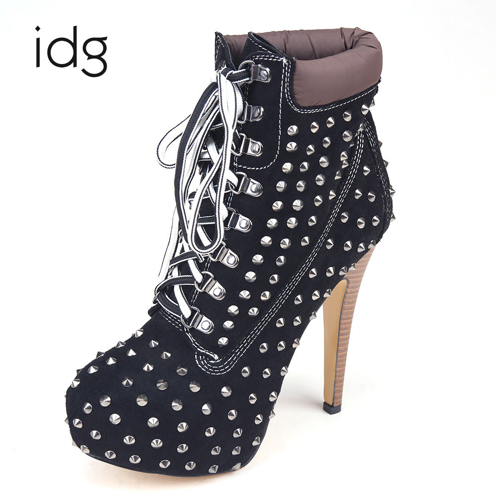Idg Brand Imitation Suede Black Metal Rivets Nylon Shoelace High Heels Woman Boots Winter Plus Plush Keep Warm bota feminina