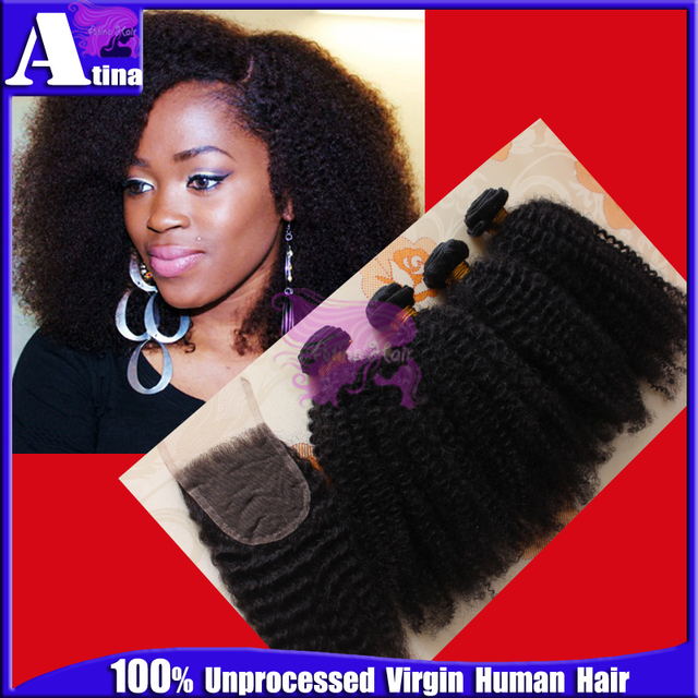 7a Virgin Mongolian Afro Kinky Curly Hair Extensions Lace Closure