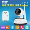 BW HD 720 P IP Камеры Наблюдения P2P Поворотный Смарт Безопасности CCTV мини Дома Onvif Инфракрасный ИК GSM Охранная + Детектор Газа Сигнализация