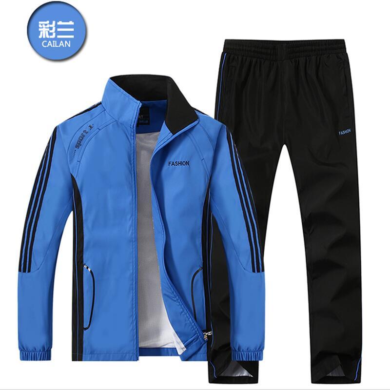 2018 Hommes de Sportwear Costume Sweat Survêtement Sans À Capuche Hommes Casual Active Costume Zipper Outwear 2 pc Veste + Pantalon ensembles
