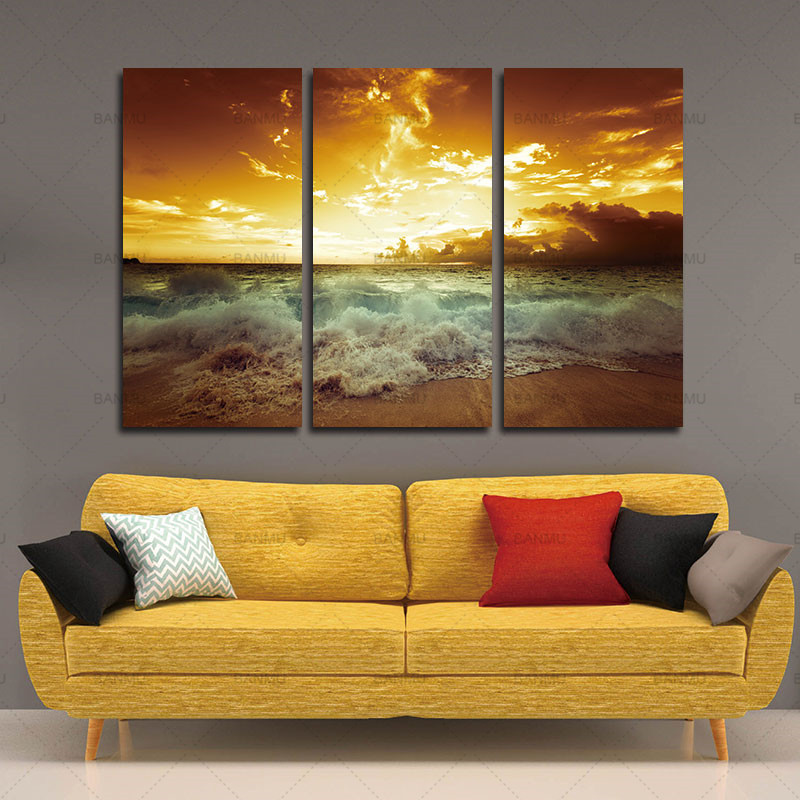 Yellow Sea Landscape Canvas Painting 3 Piece For Living Wall Home Decor Picture