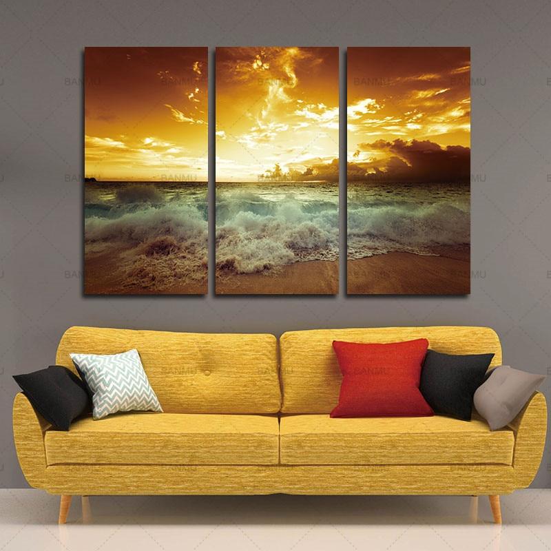 Yellow Sea Landscape Canvas 3 կտոր նկարելու համար - Տնային դեկոր - Լուսանկար 3