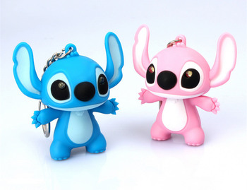 100pcs/lot The movie catoon sound and flash Lilo & Stitch 3D model Pendant keychain LED luminous doll key chain toy car keyring