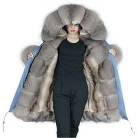 Sky Blue Luxury Women Parka Jackets Winter Sliver Fox fur Jacket with fur cuff artificial lining warm parkas in womens