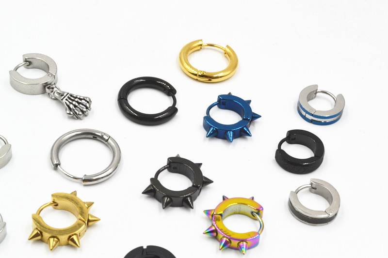 Lot 50pcs Fashion Jewelry- PUNK EMO Men/Women Ear Studs/Earring Stainless Steel Earring Hip Hop Helix Ring Fake Plugs Hoop Ring