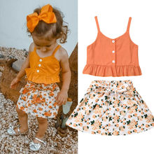 1-6T Toddler Kid Baby Girls Floral Outfits Solid Button Ruffle Tank Sling Tops + Bandage Skirt Sleeveless Summer 2Pcs Set
