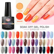 MEET ACROSS 2Pcs/set Gel Nail Polish Hybrid Varnishes Set Semi Permanent Summer Color Soak Off Varnish Lacquer