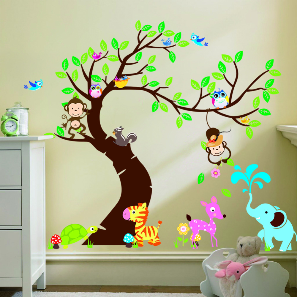 Tree And Monkey Wall Sticker Children Room Background Wall Sticker Zypa 1214 Diy Decoration Nursery Daycare Baby Room Decor