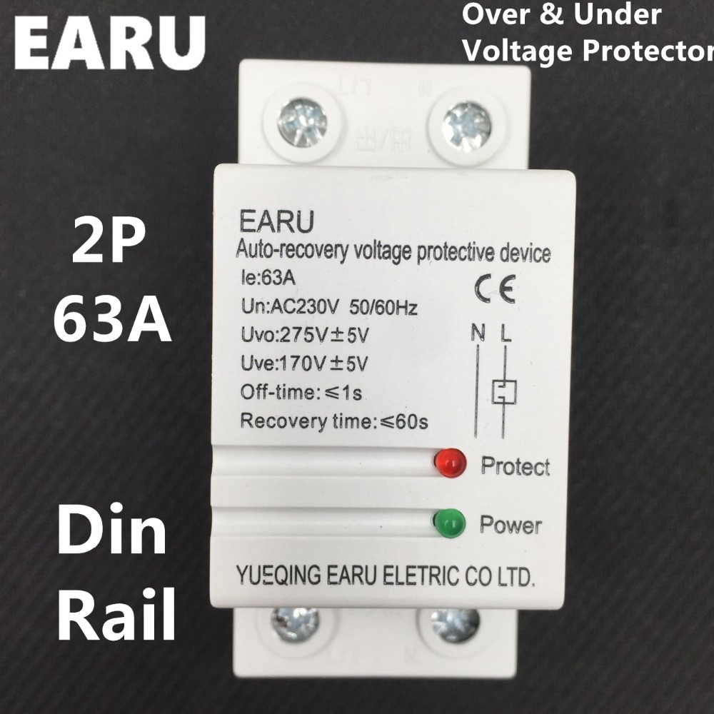 1pc 2P 63A 220V Din Rail Self Recovery Automatic Reconnect Over & Under Voltage Lightening Protection Protective Protector Relay 1pc 63a 230v self recovery automatic reconnect over