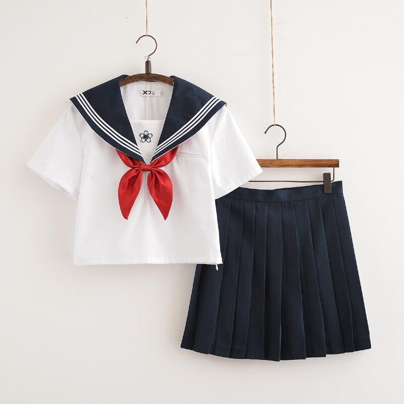 Japanese JK School Uniform Sets Girl Sakura Embroidery High School Women Sailor Suit Student Uniform Tops