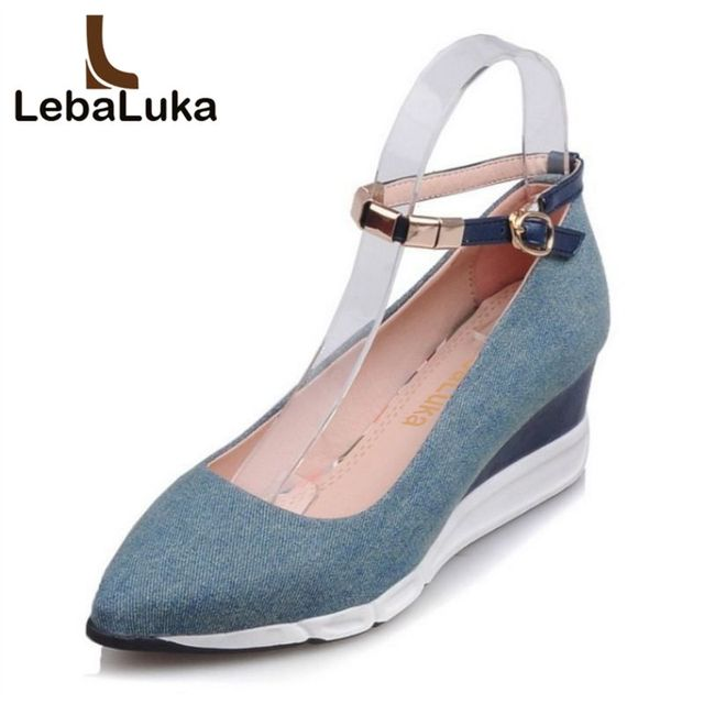 82f2d65d49 lebaluka Simple Women High Wedges Shoes Women Solid Color Ankle Strap Pointed  Toe Wedges Pumps Party Women Footwears Size 34-39