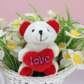 2016 Hot Sale 1 PC 10CM Red Heart Mini Teddy Bear Plush Toy For Little Babys Gift Soft PP Cotton  Cartoon Figure