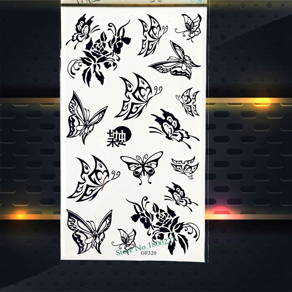 Black Henna Lace Butterfly Temporary Tattoo Stickers Women makeup Body Art ARm Tattoo Paste PGF320 Children Tattoo Gifts