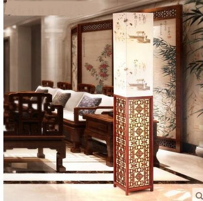 Chinese Floor Lamps wooden living room lamp new classical warm study restaurant bedroom vertical bedside lamp LU71596 french garden vertical floor lamp modern ceramic crystal lamp hotel room bedroom floor lamps dining lamp simple bedside lights