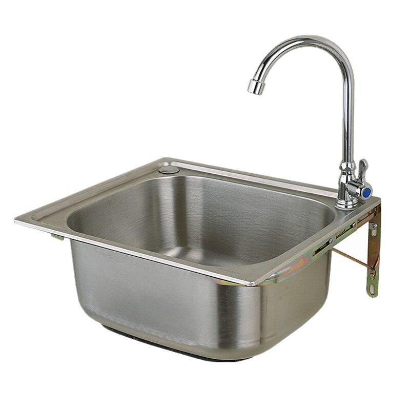 Moderne 304 roestvrijstalen aanrecht met wastafel kraan, enkele kom, Keuken accessoires, badrandcombinaties, met installion video - 6