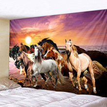 Pentium Horse Print Wall Hippie Tapestry Polyester Fabric Home Decor Wall Rug Carpets Hanging Big Couch Blanket(China)
