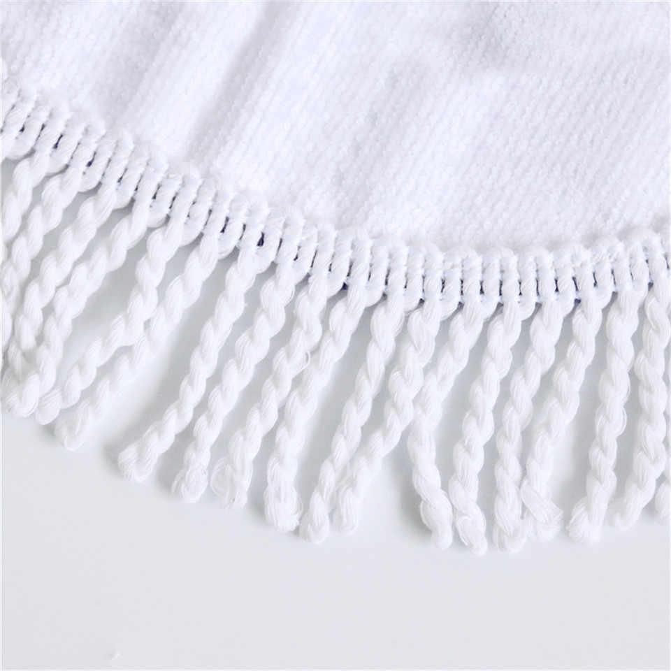 BlessLiving круглое пляжное полотенце с единорогом, Радужное детское белое банное полотенце с кисточкой, микрофибра, 150 см, цветное одеяло