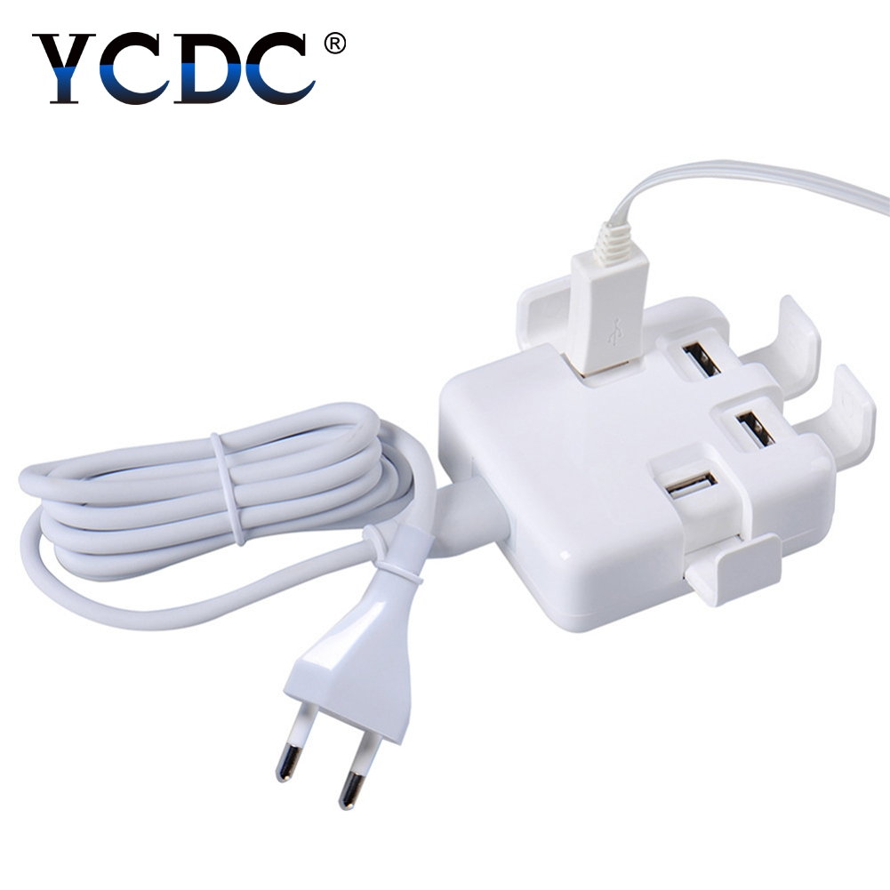 YCDC Fast Charger 4 Ports USB Charger 20W 5V Universal Travel Wall Charger Adapter for iPhone Samsung iPad Tablets+UK/US/EU Plug
