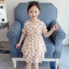Toddler Girls Dress Kids Fashion Children Clothing Summer Short Sleeve Dot Print V-neck Layered Dress Baby Party Princess Dress цена 2017