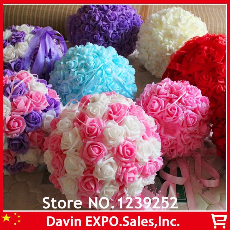 New 10Pcs 18 cm PE Foam Rose Artificial Flowers Ball Kissing Ball For Wedding DIY Decoration