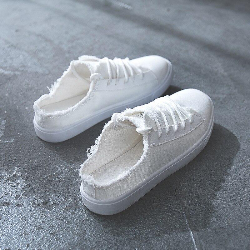 Chaussures blanc Plates Talon Noir Femmes Toile Solide Mode Sans Couleur Nouvelle rouge 2018 De Casual EC6qxpPa