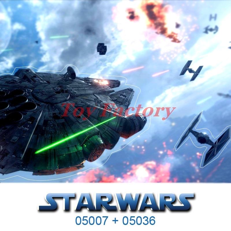 ФОТО DHL LEPIN 05007 + 05036 Star Wars Han Solo Millennium Falcon  TIE Fighter Building Kit 79211 Set Kids Toy Clone 75105