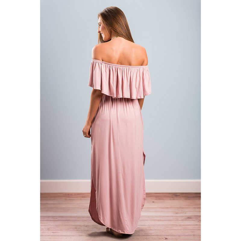 HENGSONG nouvelle Sexy longue robe 2018 volant épaule à manches courtes longueur de plancher longue Maxi robe femmes robes de soirée Vestido