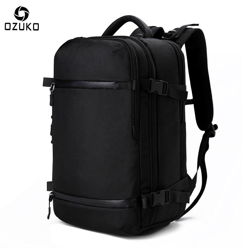 OZUKO New Men's Backpack 17.3Inch Laptop Backpack School bag Large Capacity Travel Backpack Multi-functional Casual Male Mochila