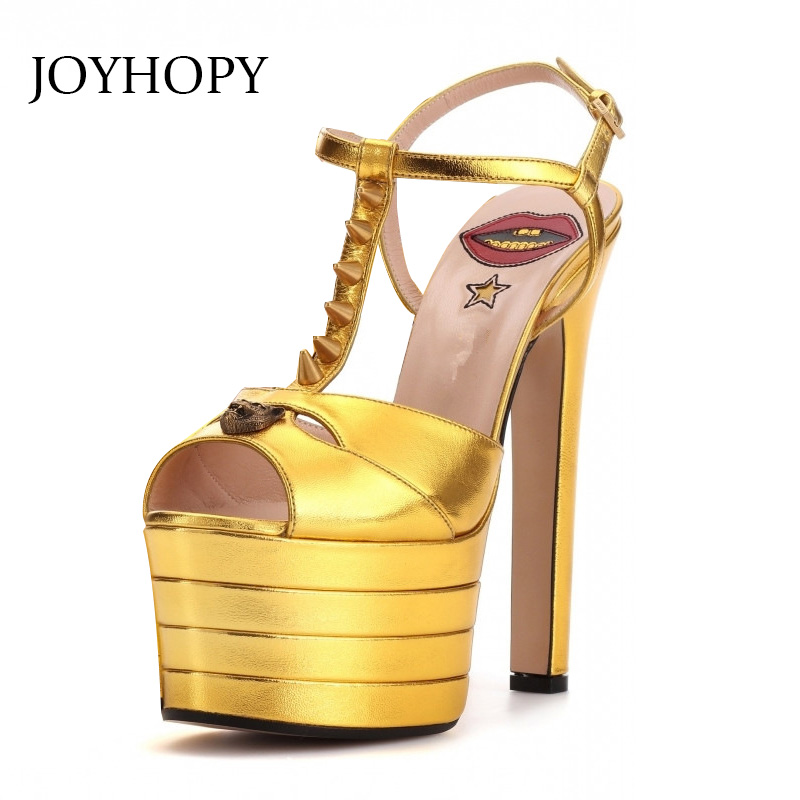 2019 New Rivet Sandals Women Round Headed Thin High Heels Shoes Fashion Woman Big Size 33