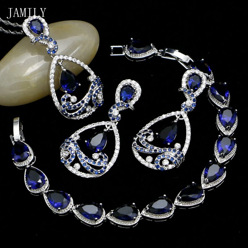 JAMILY Water Drop Silver 925 Jewelry Sets Blue CZ Earrings/Pendant/Bracelet/Necklace 2018 New Fashion Accessories For Engagement