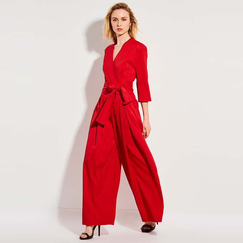 Sisjuly Spring Casual Jumpsuit High Waist Full Length Pleated Patchwork Party Beach Elegant Loose Red Jumpsuit Women Jumpsuits