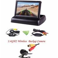800 X 480 HD 4 3 Foldable LCD Monitor Mirror Car Wireless Backup Rear View Camera