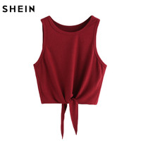 SheIn Summer Style Tank Top For Ladies Casual Tops Woman Plain Round Neck Sleeveless Tie Front