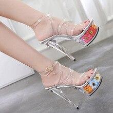 POADISFOO moda mujer sexy zapatos de tacón alto 15 CM bien impermeable de  Sandalias Zapatos de 8c948499a22e