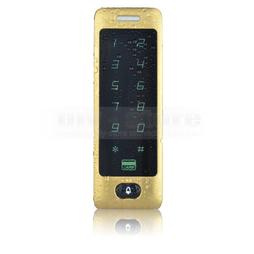 DIYSECUR 125KHz Rfid Card Reader Door Access Controller System Password Keypad Metal Case Golden diysecur metal case touch button 125khz rfid card reader door access controller system password keypad c20